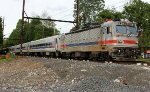 SPAX 2303 pushes to West Trenton after station stop.